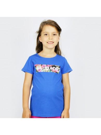 T-Shirt Kid Saudade Fleuri Bleu